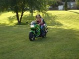 """""""I just ate a bug!"""" she screamed and I just started laughing. My sister and I on my bike in my backyard back home in NEPA. August 2009"""