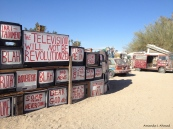 """Is this your only window to the world?""  East Jesus, Slab City, CA  January 11, 2014"