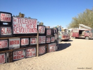 """""""Is this your only window to the world?"""" East Jesus, Slab City, CA January 11, 2014"""